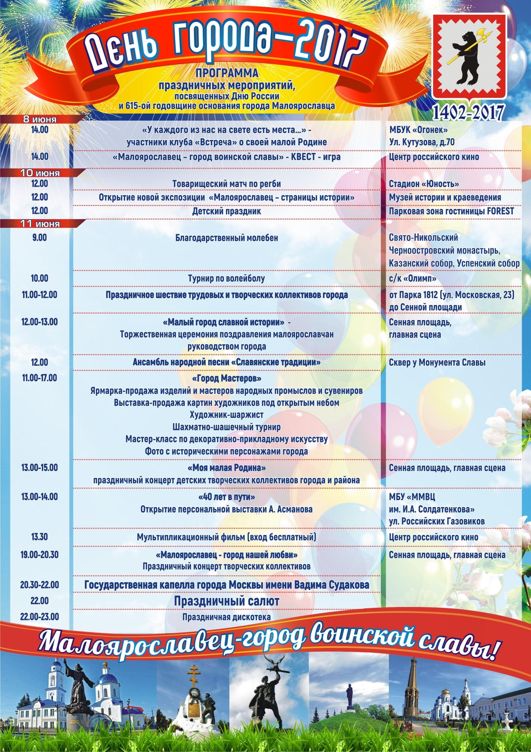 День Города Малоярославца 2017 программа мероприятий, когда салют