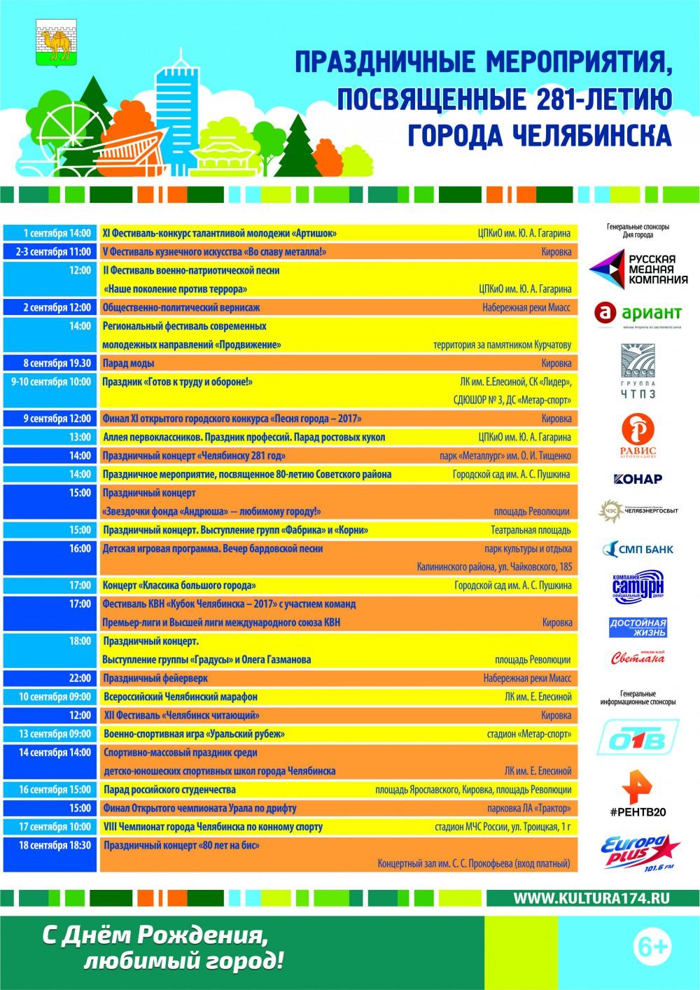 День города Челябинска 9 сентября 2017 года - программа мероприятий, когда салют, кто выступает