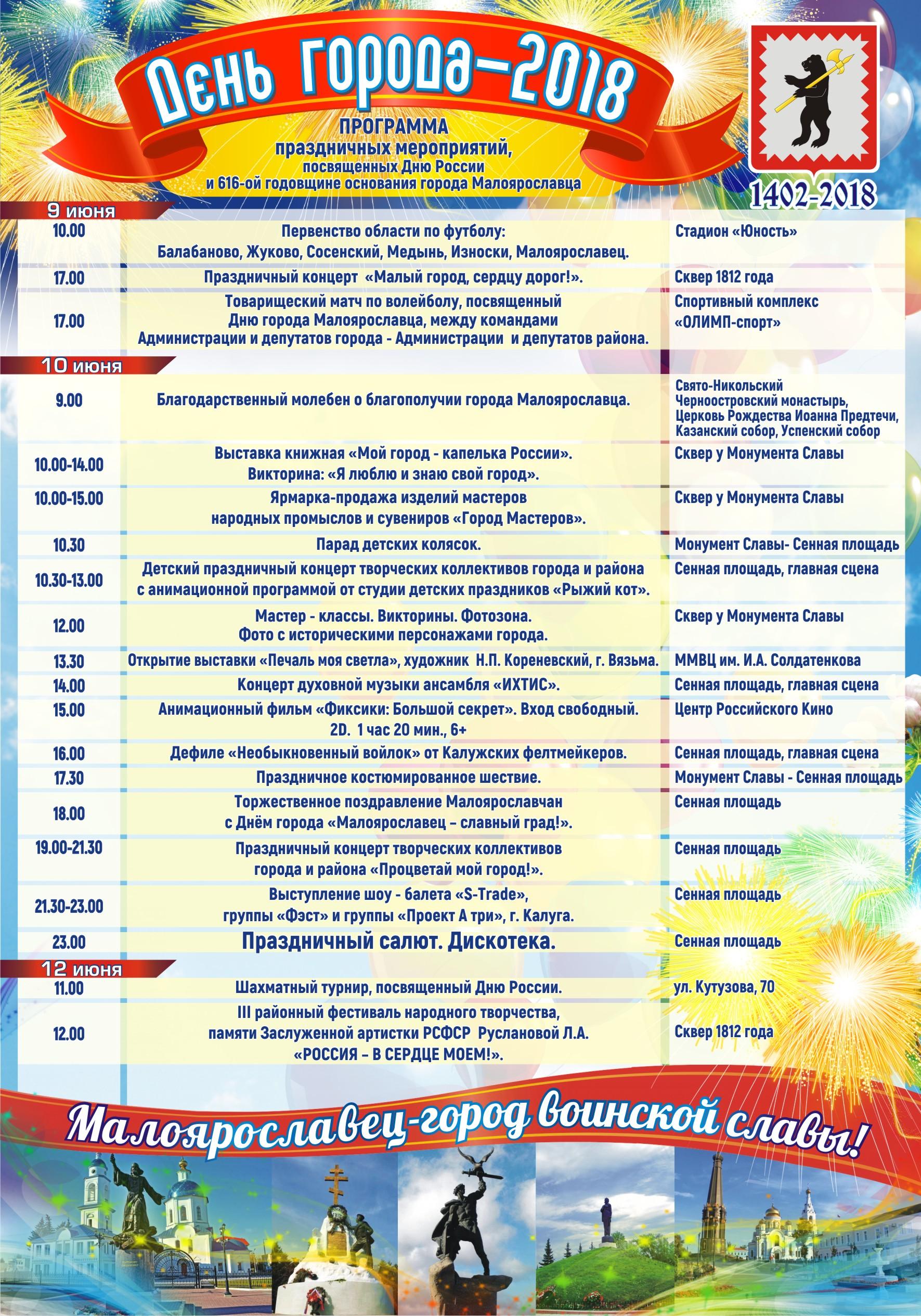 День города Малоярославец 10 июня 2018 года – программа мероприятий, когда салют