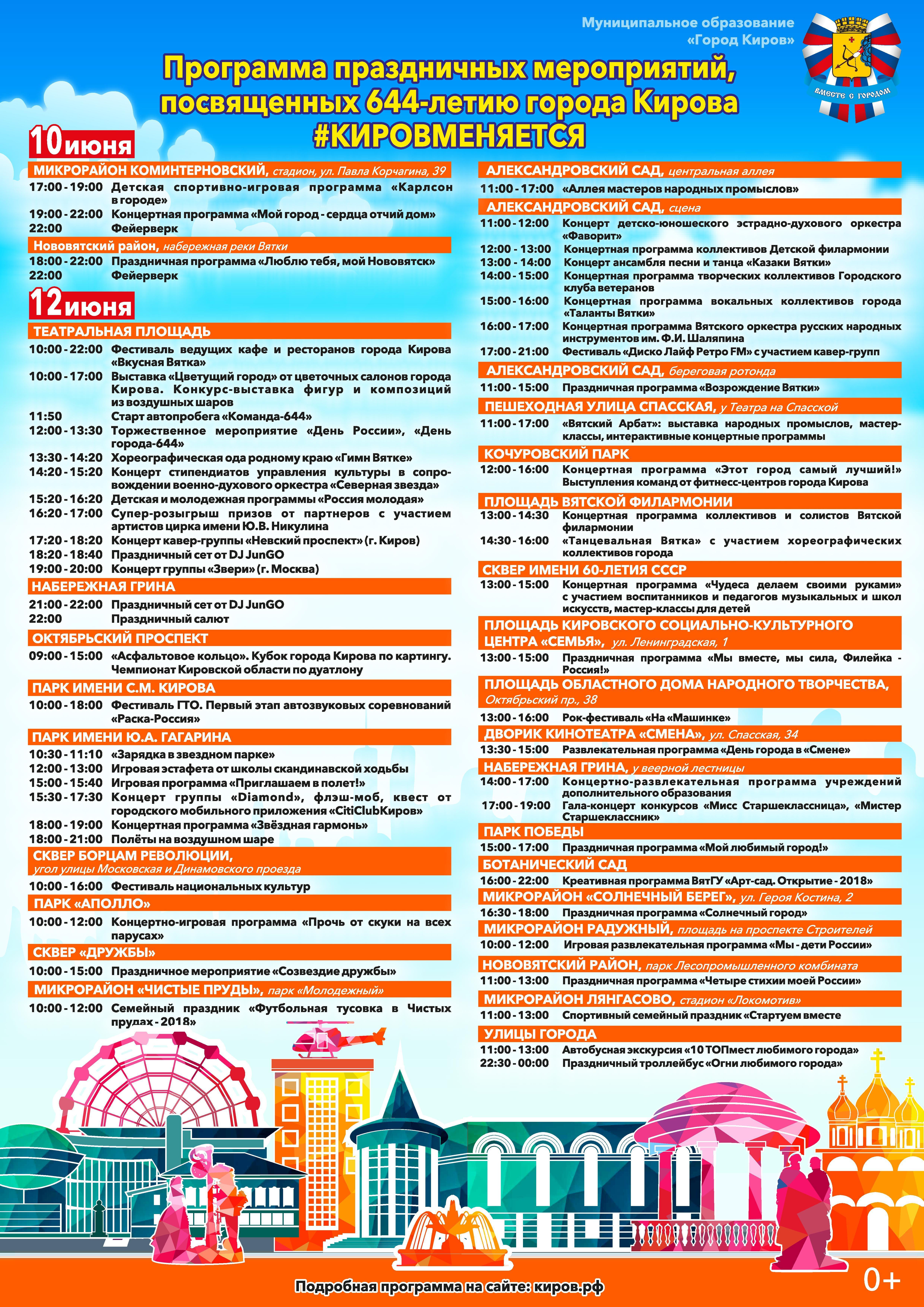 День России и День города в Кирове 12 июня 2018 - программа, салют