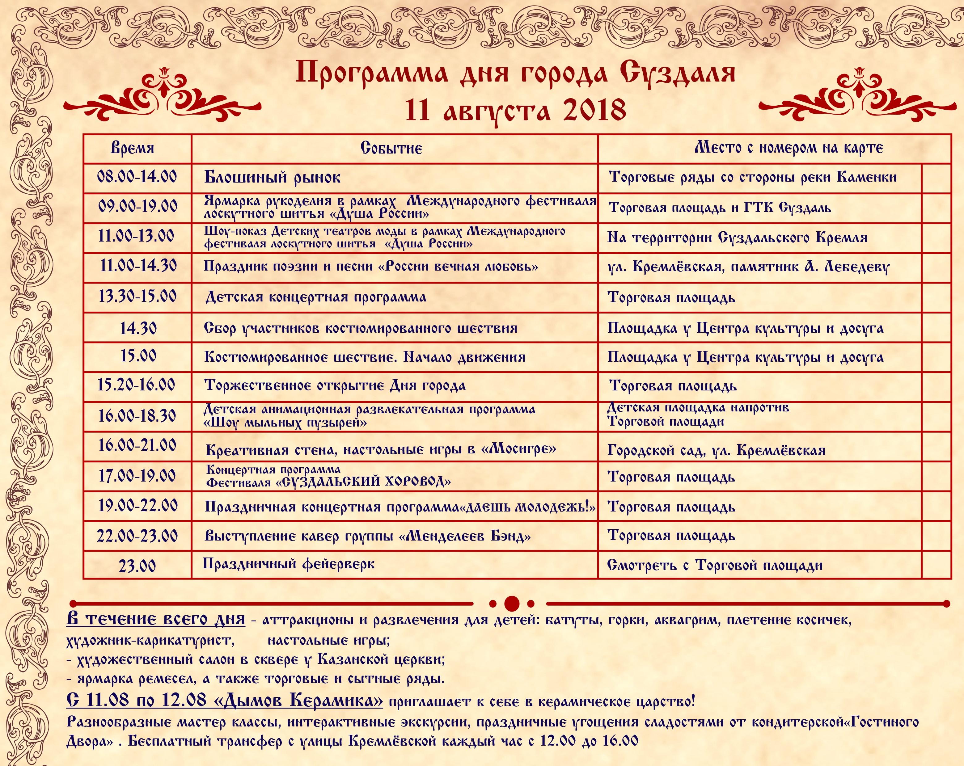 День города Суздаль 11 августа 2018 года – программа мероприятий, салют